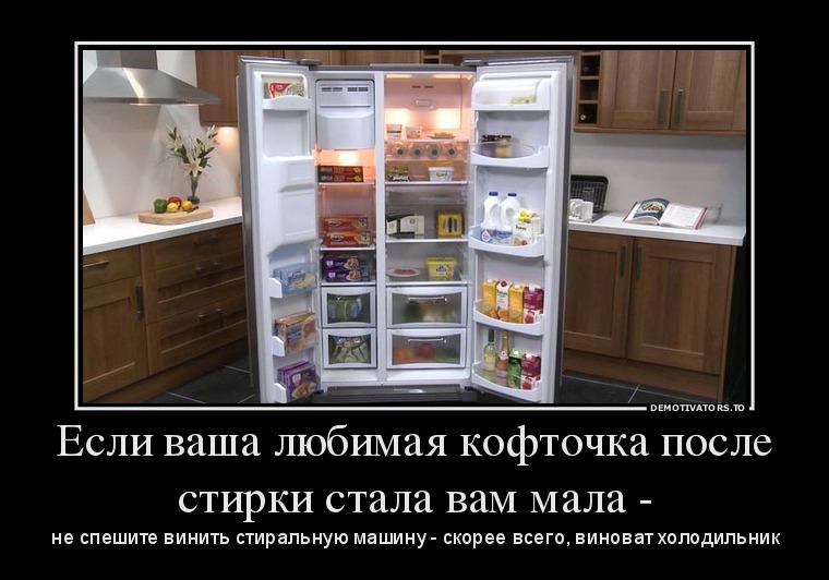 изображение: Если ваша любимая кофточка после стирки стала вам мала - не спешите винить стиральную машину - скорее всего виноват холодильник #Прикол