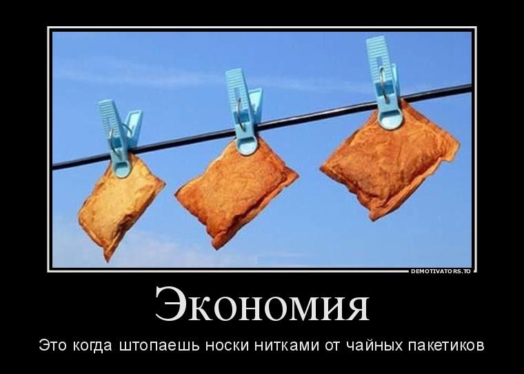 изображение: Экономия - это когда штопаешь носки нитками от чайных пакетиков #Прикол