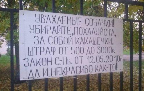 Уважаемые собачки! Убирайте, пожалуйста, за собой какашечки. Штраф от 500 до 3000 рублей. Закон от С.-Пб. от 12.05.2010г. Да и некрасиво как-то! | #прикол