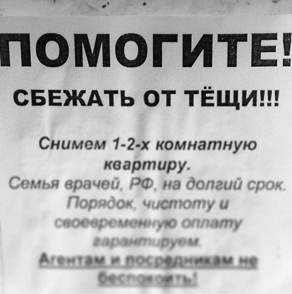 изображение: Помогите сбежать от тещи! Снимем 1-2-ух комнатную квартиру. Семья врачей, РФ, на долгий срок. #Смешные объявления