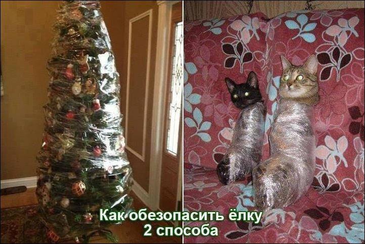 изображение: Как обезопасить ёлку, 2 способа #Котоматрицы