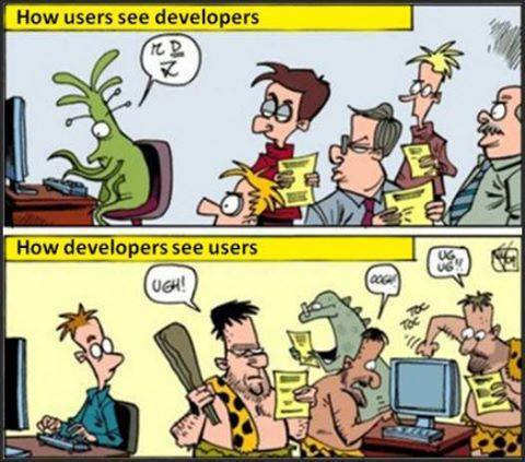 изображение: Как программист и пользователи видят друг - друга. How users see developers. How developers see users. #Прикол