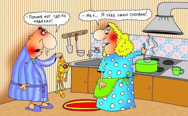 изображение: Муж жене: - Похоже кот где-то наделал! Жена: - Нет, это я тебе ужин готовлю... #Прикол