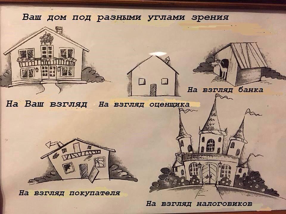 изображение: Ваш дом под разными углами зрения: на ваш взгляд, на взгляд оценщика, на взгляд покупателя... #Прикол