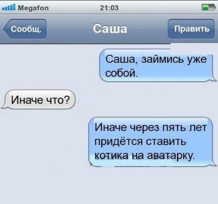 изображение: - Саша, займись уже собой. - Иначе что? - Иначе через 5 лет придется ставить котика на аватарку #CМС приколы
