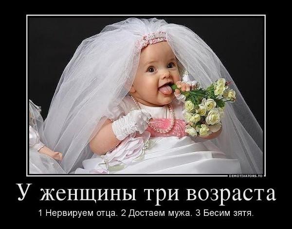 изображение: У женщины 3 возраста: 1. Нервируем отца. 2. Достаем мужа. 3. Бесим зятя #Прикол