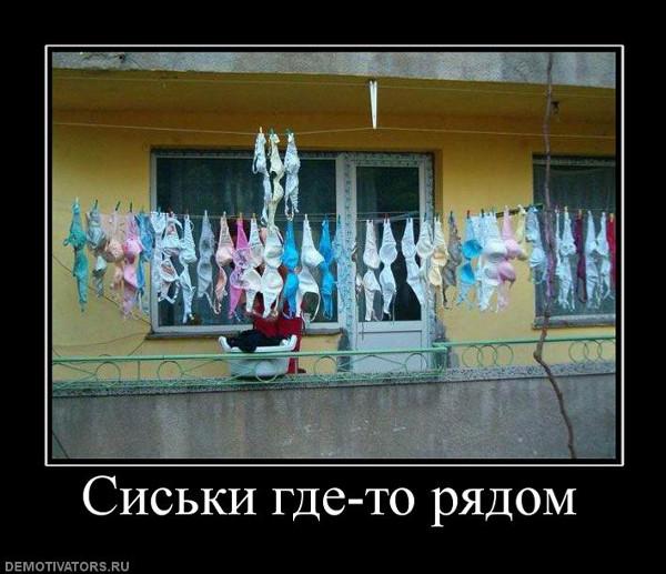 изображение: Сиськи где-то рядом - Куча разноцветных бюстгальтеров висит на веревке на балконе #Прикол