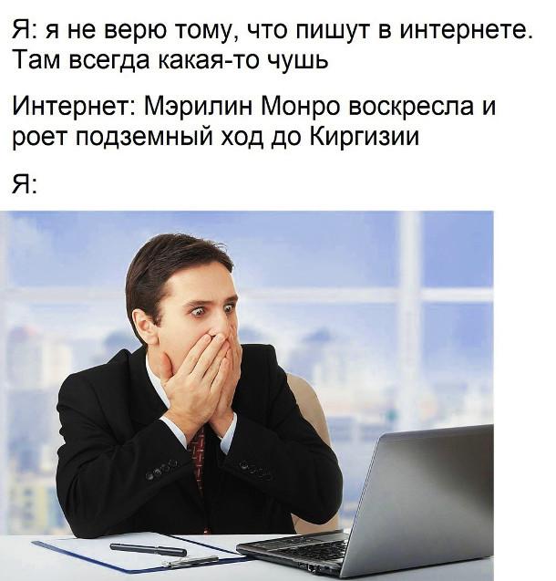 изображение: Я: я не верю тому, что пишут в Интернете. Там всегда какая-то чушь. Интернет: Мэрилин Монро воскресла и роет подземный ход до Киргизии. #Прикол