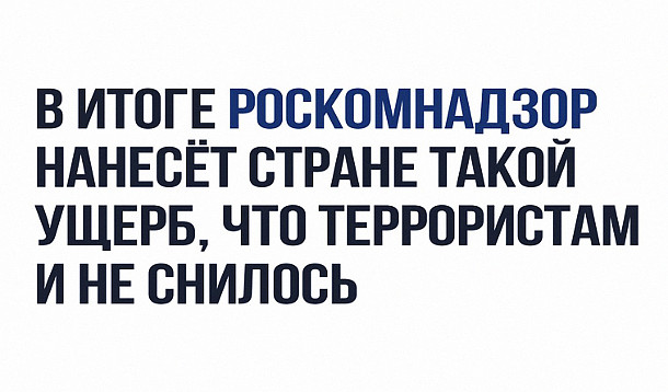 изображение: В итоге Роскомнадзор нанесет стране такой ущерб, что террористам даже и не снилось #Прикол