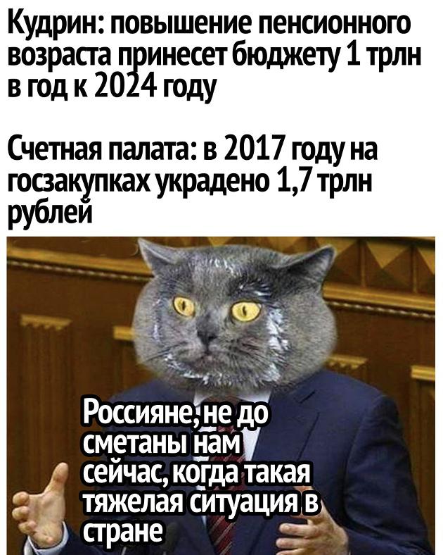 изображение: Кудрин: Повышение пенсионного возраста принесет бюджету 1 трлн в год к 2024 г. Счетная палата: в 2017 году на госзакупках украдено 1,7 трлн руб. - Россияне, не до сметаны нам сейчас, когда такая тяжелая ситуация в стране #Прикол