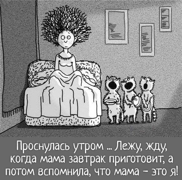 изображение: Проснулась утром ... Лежу, жду, когда мама завтрак приготовит, а потом вспомнила, что мама - это я! #Прикол