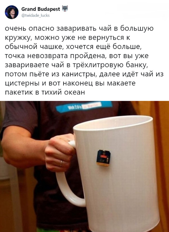 изображение: Очень опасно заваривать чай в большую кружку, можно уже не вернуться к обычной чашке, хочется всё больше, точка невозврата пройдена, и вот вы уже завариваете чай в 3литровую банку, потом пьете из канистры, далее идет чай из цистерны и вот наконец вы ... #Прикол