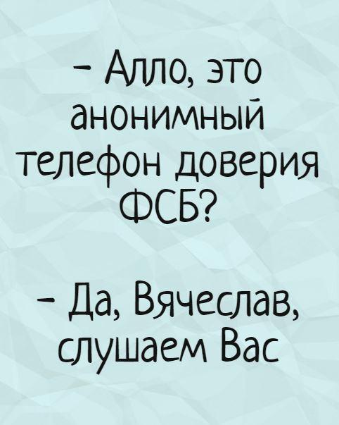 - Алло, это анонимный телефон доверия ФСБ? - Да, Вячеслав, слушаем Вас | #прикол
