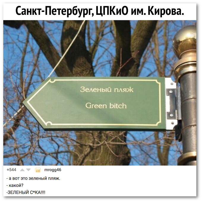 изображение: Санкт-Петербург, ЦПКиО им. Кирова. Зеленый пляж. Green bitch. - А вот это зеленый пляж. - Какой? - Зеленый сука #Смешные объявления