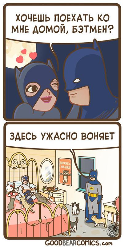 изображение: - Хочешь поехать ко мне домой, Бэтмен? - Здесь ужасно воняет #Прикол