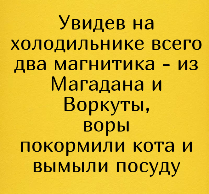 изображение: Увидев на холодильнике всего два магнитика - из Магадана и Воркуты, воры покормили кота и вымыли посуду #Прикол