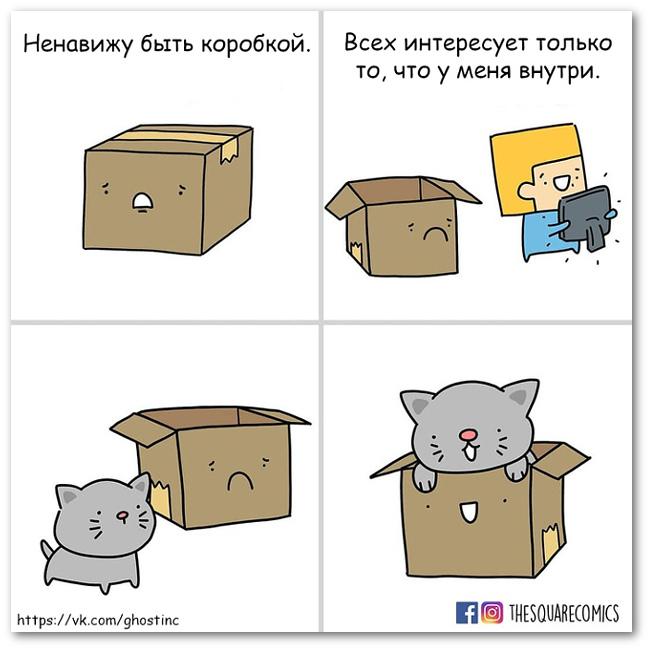 изображение: - Ненавижу быть коробкой. Всех интересует только то, что у меня внутри #Прикол