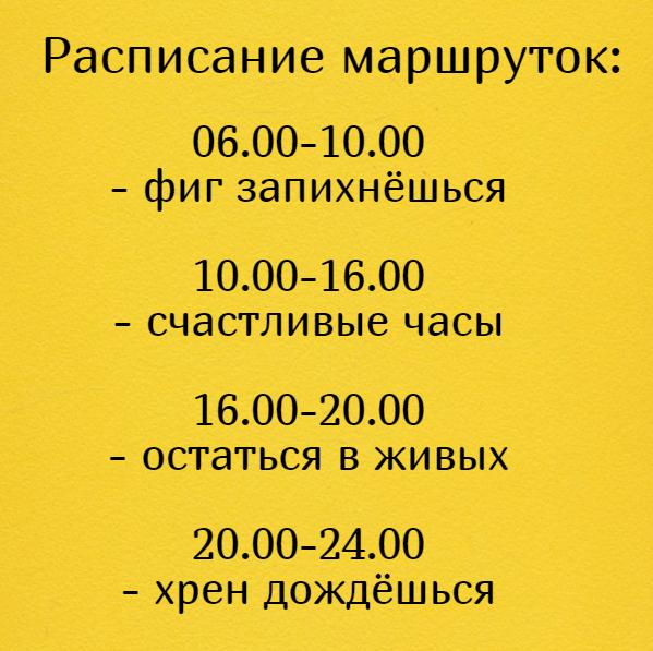 изображение: Расписание маршруток: 06.00-10.00 - фиг запихнёшься 10.00-16.00 - счастливые часы 16.00-20.00 - остаться в живых 20.00-24.00 - хрен дождёшься #Прикол
