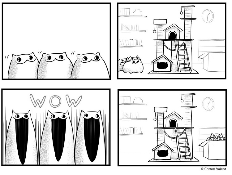 изображение: Кошачьи предпочтения: Домик-когтеточка против обычной коробки #Прикол