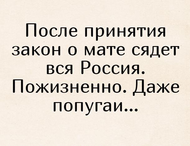 После принятия закон о мате сядет вся Россия. Пожизненно. Даже попугаи... | #прикол