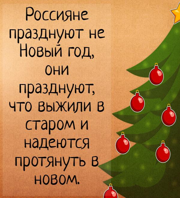 Россияне празднуют не Новый год, они празднуют, что выжили в старом и надеются протянуть в новом. | #прикол