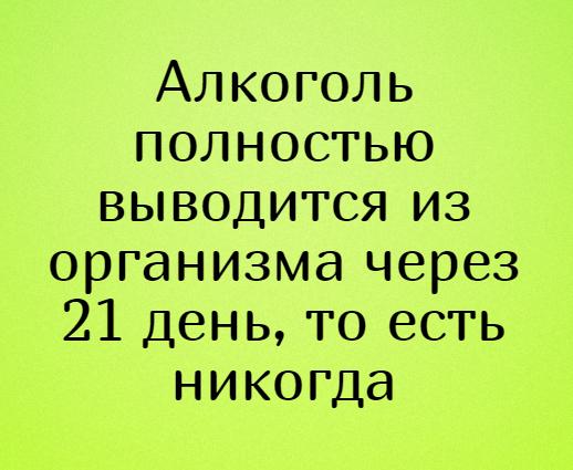 Алкоголь полностью выводится из организма через 21 день, то есть никогда | #прикол