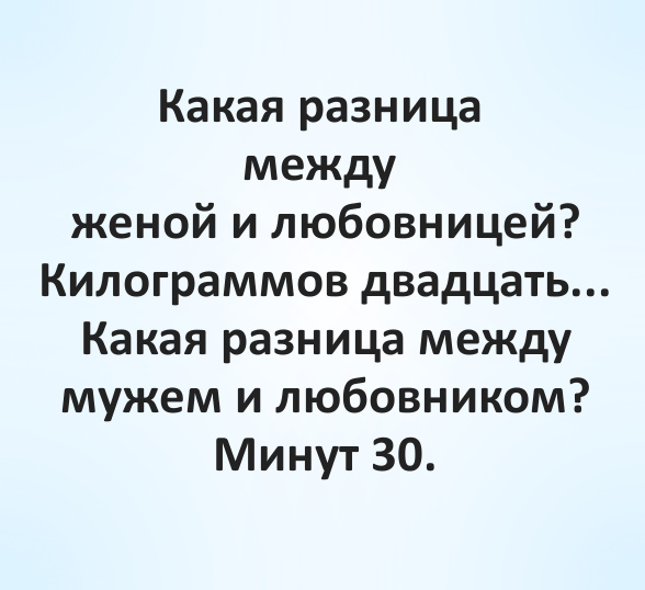 Какая разница между женой и любовницей? Килограммов двадцать... Какая разница между мужем и любовником? Минут 30. | #прикол