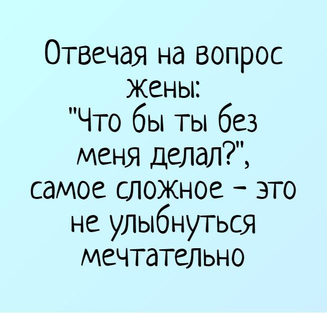 изображение: Отвечая на вопрос жены: 'Что бы ты без меня делал?', самое сложное - это не улыбнуться мечтательно #Прикол