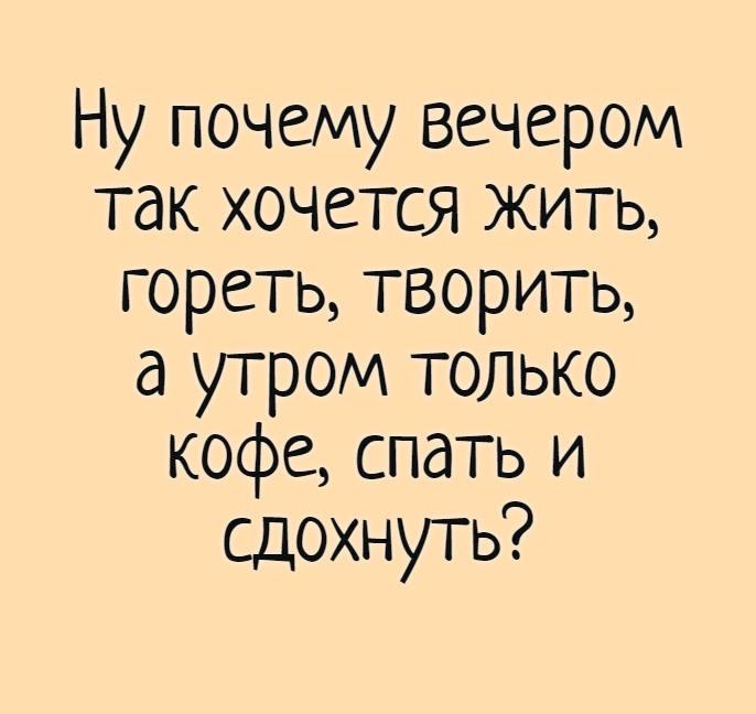 Ну почему вечером так хочется жить, гореть, творить, а утром только кофе, спать и сдохнуть? | #прикол