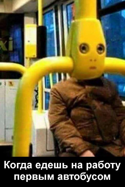 изображение: Когда едешь на работу первым автобусом #Прикол