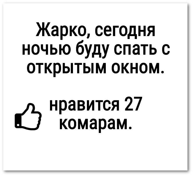 изображение: Жарко, сегодня ночью буду спать с открытым окном. Нравится 27 комарам. #Прикол