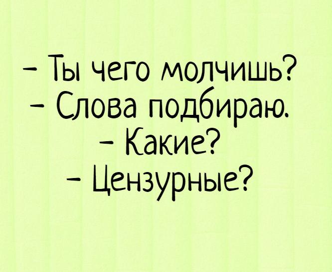 изображение: - Ты чего молчишь? - Слова подбираю. - Какие? - Цензурные? #Прикол