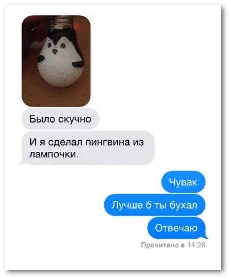 изображение: - Было скучно и я сделал пингвина из лампочки. - Чувак, лучше бы ты бухал. Отвечаю. #CМС приколы