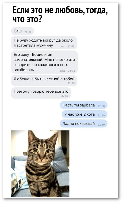 изображение: - Саша, не буду ходить вокруг да около. Я встретила мужчину. Его зовут Борис и он замечательный. #CМС приколы