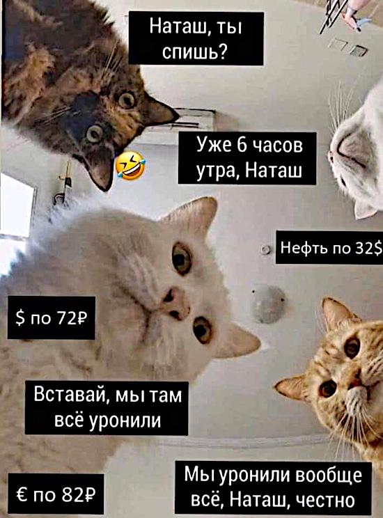 - Наташ, ты спишь? Нефть по 32$. Доллар по 72 рубля. Вставай, мы там всё уронили. Евро по 82 рубля. | #прикол