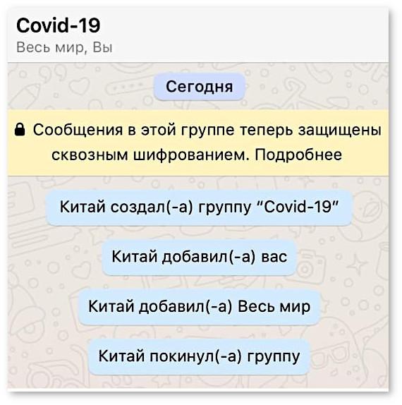 изображение: Китай создал группу 'Covid-19'. Китай добавил вас. Китай добавил Весь мир. Китай покинул группу. #CМС приколы