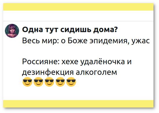 изображение: Одна тут сидишь дома? @Livotovas · 17 мар. Весь мир: о Боже эпидемия, ужас. Россияне: хехе удалёночка и дезинфекция алкоголем. #Прикол