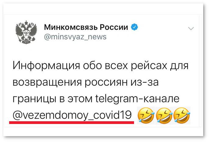 изображение: Минкомсвязь России: Информация обо всех рейсах для возвращения россиян — vezemdomoy_covid19. #Прикол