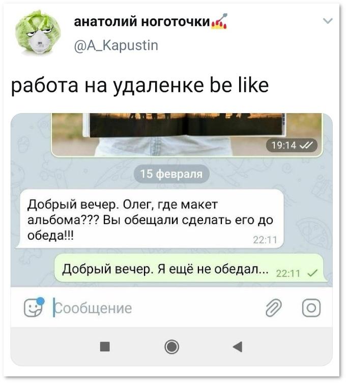Работа на удалёнке: - Добрый вечер! Олег, где макет альбома??? Вы обещали сделать его до обеда? | #прикол