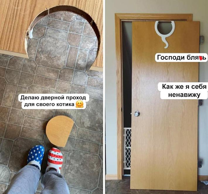 изображение: - Делаю дверной проход для своего котика. Как же я себя ненавижу. #Прикол