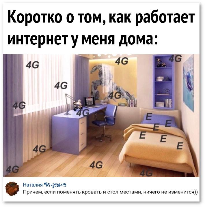 Коротко о том, как работает Интернет у меня дома. 4G 4G 4G E E E | #прикол