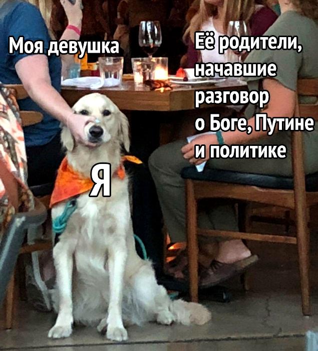 изображение: Моя девушка. Её родители, начавшие разговор о Боге, Путине и политике. Я. #Прикол