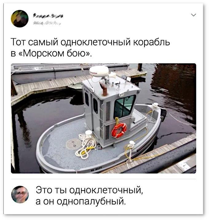 изображение: Тот самый одноклеточный корабль в 'Морском бою'. - Это ты одноклеточный, а он однопалубный. #Прикол