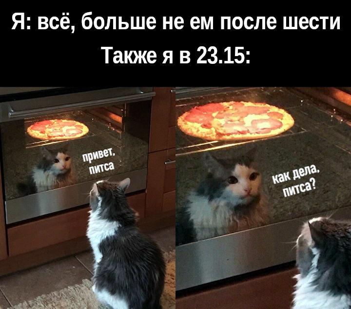 изображение: Я: всё, больше не ем после шести. Также я в 23.15: - Привет, пицца. #Котоматрицы