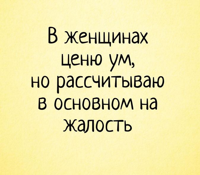 изображение: В женщинах ценю ум, но рассчитываю в основном на жалость #Прикол