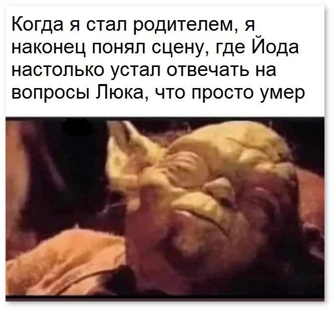 изображение: Когда я стал родителем, я наконец понял сцену, где Йода настолько устал отвечать на вопросы Люка, что просто умер. #Прикол
