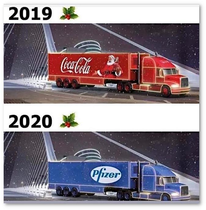 изображение: 2019 - Coca-Cola. 2020 - вакцина Pfizer. #Прикол