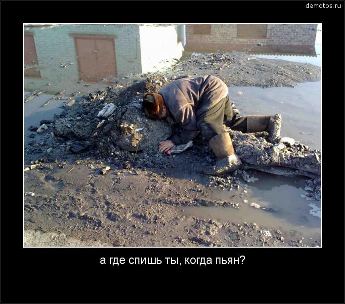 а где спишь ты, когда пьян? #демотиватор