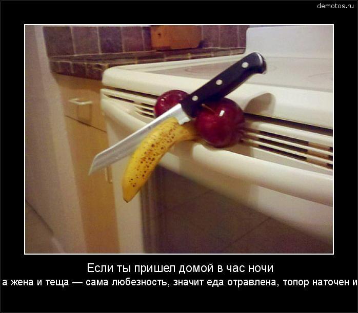 Если ты пришел домой в час ночи от любовницы, а жена и теща — сама любезность, значит еда отравлена, топор наточен и спать нельзя... #демотиватор