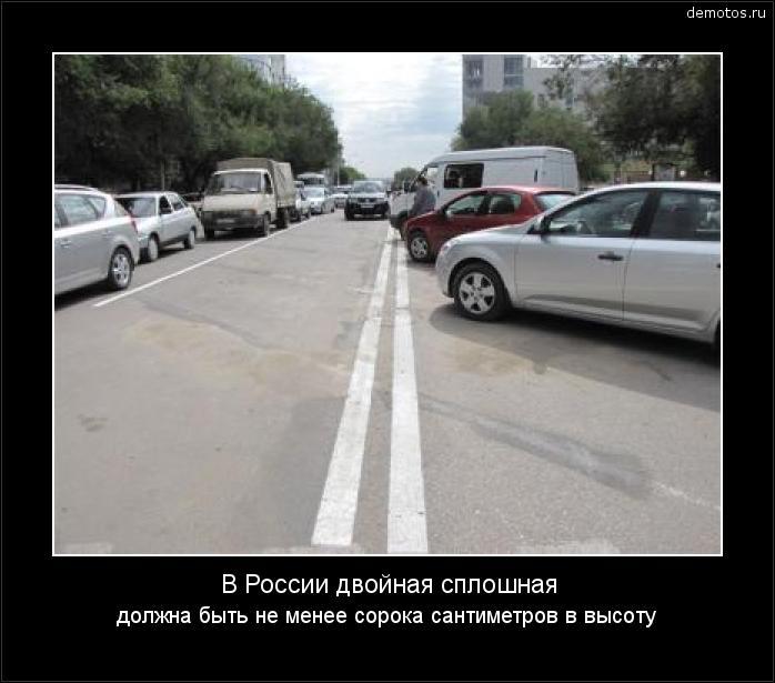 В России двойная сплошная должна быть не менее сорока сантиметров в высоту #демотиватор